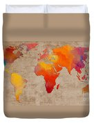 Abstract World Map - Rainbow Passion - Digital Painting Duvet Cover