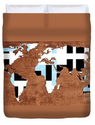 Abstract World Map - Which Way Is Up - Painterly Duvet Cover