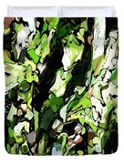 Abstraction Green And White Duvet Cover