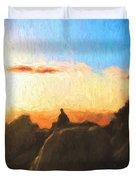 Acadia Bass Harbor Head Lighthouse Silhouette Duvet Cover