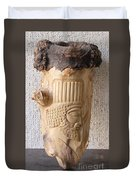 Achaemenian Soldier Relief Sculpture Wood Work Duvet Cover