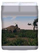 Achelousaurus Walking Amongst Swamp Duvet Cover