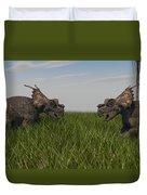 Achelousauruses Confrontation In Swamp Duvet Cover