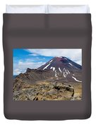 Active Volcanoe Cone Of Mt Ngauruhoe New Zealand Duvet Cover