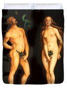 Adam Eve And The Serpent Duvet Cover
