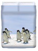 Adelie Penguin Group Running Antarctica Duvet Cover