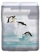 Adelie Penguins Diving Off Iceberg Duvet Cover
