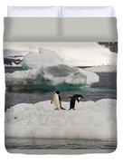 Adelie Penguins On Ice Duvet Cover