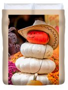 Adorable Cowboy Pumpkin Figures Made From Pumpkins Duvet Cover