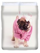 Adorable Pug Puppy In Pink Bow And Sweater Duvet Cover