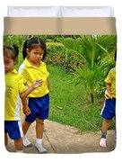 Adorable Sweethearts Welcoming Committee At Baan Konn Soong School In Sukhothai-thailand Duvet Cover