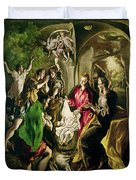 Adoration Of The Shepherds Duvet Cover by El Greco Domenico Theotocopuli