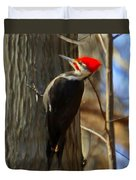 Adult Male Pileated Woodpecker Duvet Cover
