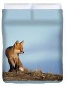Adult Red Fox On The Tundra In Late Duvet Cover