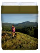 Adult Woman Trail Running Duvet Cover