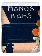 Advertisement For Kaps Pianos Duvet Cover