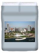 Aerial Of Milwaukee Skyline Duvet Cover