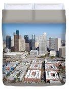 Aerial Of The Houston Skyline Duvet Cover