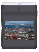 Aerial Over Newark And New Yourk Duvet Cover