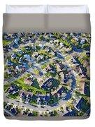 Aerial Pattern Of Residential Homes Duvet Cover