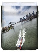 Aerial View - Red Tourist's Boat At East River Duvet Cover