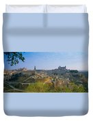 Aerial View Of A City, Toledo, Spain Duvet Cover