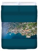 Aerial View Of A Town, Atrani, Amalfi Duvet Cover