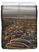Aerial View Of Bellevue Skyline And Century Link  Duvet Cover