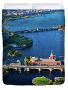 Aerial View Of Bridges Crossing Charles Duvet Cover