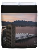 Aerial View Of Canada Place At Sunse Duvet Cover