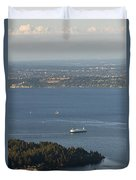 Aerial View Of Ferry Boats On Puget Sound Leaving Bainbridge Isl Duvet Cover