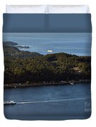 Aerial View Of Ferry Boats On Puget Sound One Leaving Bainbridge Duvet Cover