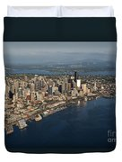 Aerial View Of Seattle Skyline With Elliott Bay And Ferry Boat Duvet Cover