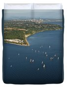 Aerial View Of Seattle Skyline With Sailboat Race On Puget Sound Duvet Cover