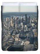 Aerial View Of Seattle Skyline With The Pro Sports Stadiums Duvet Cover