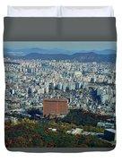 Aerial View Of Seoul South Korea Duvet Cover
