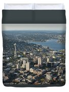 Aerial View Of Space Needle And Lake Union Duvet Cover