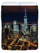 Aerial View Of The Lower Manhattan Skyscrapers By Night Duvet Cover