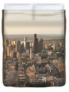 Aerial View Of The Seattle Skyline With Stadiums Duvet Cover