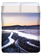 Aerial View Of The Tanana River Valley Duvet Cover