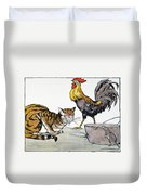 Aesop: Cat, Cock, And Mouse Duvet Cover