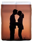 Affectionate Couple At Sunset In Profile  Duvet Cover