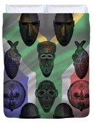 Africa Flag And Tribal Masks Duvet Cover