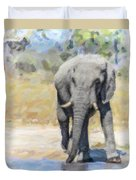 African Elephant At Waterhole Duvet Cover