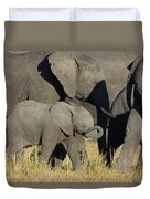 African Elephant Calf With The Herd Duvet Cover