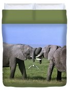 African Elephant Greeting Endangered Species Tanzania Duvet Cover