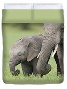 African Elephant Juvenile And Calf Kenya Duvet Cover