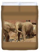 African Elephant Orphans Playing In Mud Duvet Cover
