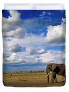 African Elephant Walking Masai Mara Duvet Cover