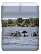 African Elephants Swimming In The Chobe River Duvet Cover